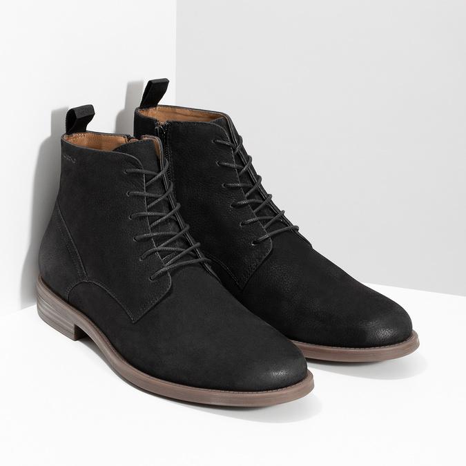 Czarno-brązowe skórzane obuwie męskie za kostkę vagabond, czarny, 826-6153 - 26