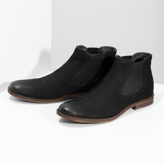 Czarne zamszowe obuwie męskie typu chelsea bugatti, czarny, 819-6025 - 16