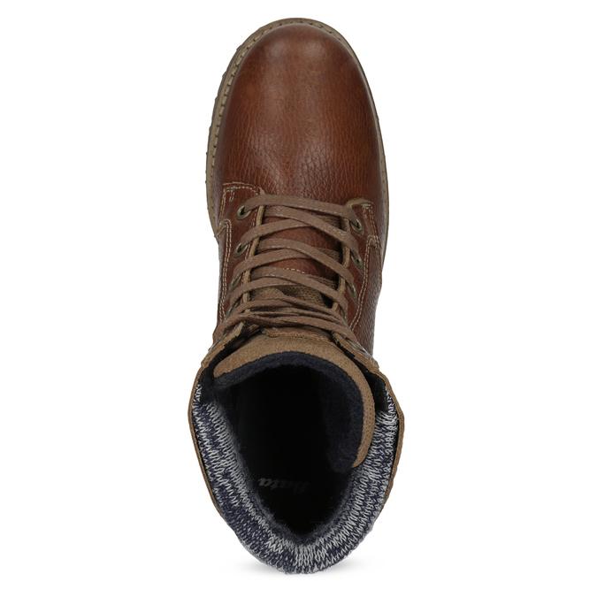 Brązowe skórzane botki zdzianiną bata, brązowy, 696-4665 - 17