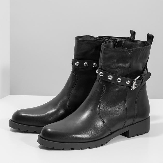 Czarne skórzane kozaki zmetalowymi ćwiekami bata, czarny, 594-6671 - 16