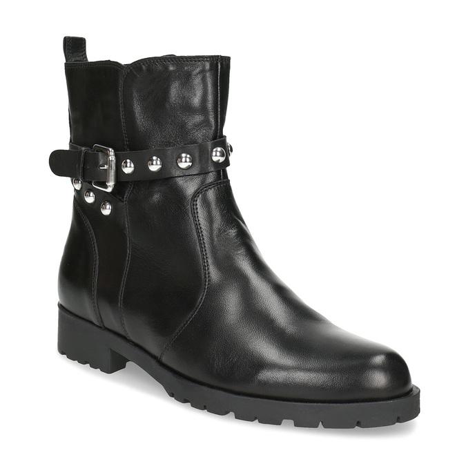 Czarne skórzane kozaki zmetalowymi ćwiekami bata, czarny, 594-6671 - 13