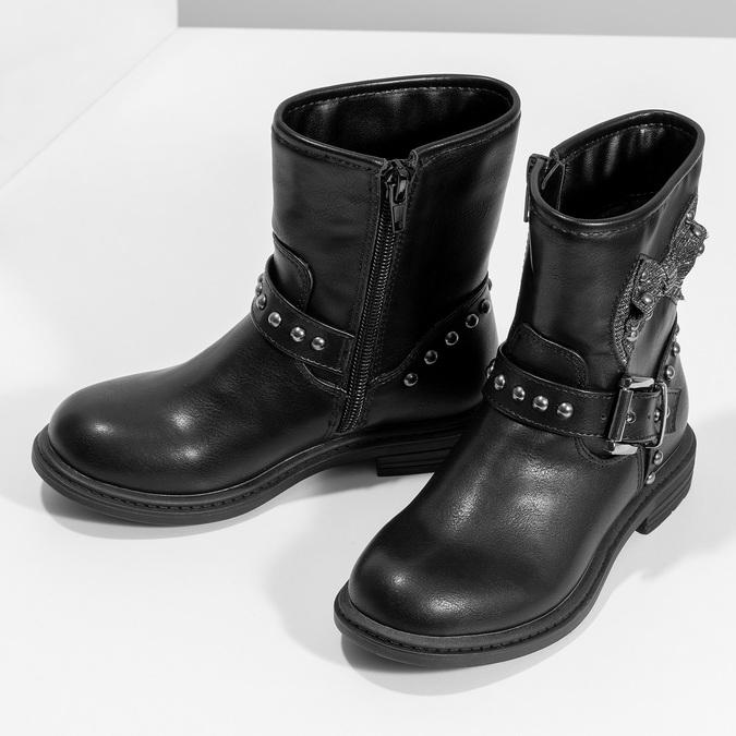 Czarne kozaki dziecięce zkokardami mini-b, czarny, 291-6132 - 16