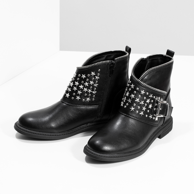 Botki dziewczęce zgwiazdkami mini-b, czarny, 391-6264 - 16