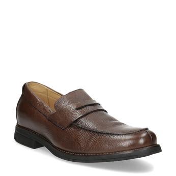 Brązowe skórzane mokasyny wstylu penny loafers comfit, brązowy, 814-3627 - 13