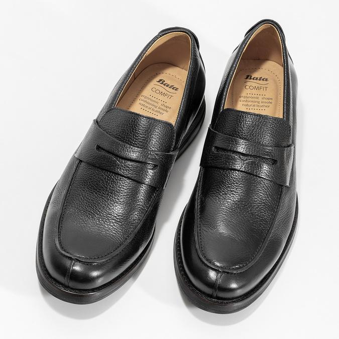 Czarne skórzane mokasyny wstylu penny loafers comfit, czarny, 814-6627 - 16