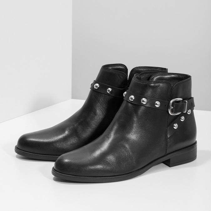 Skórzane botki zmetalowymi ćwiekami bata, czarny, 594-6668 - 16