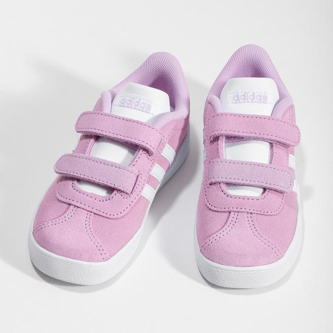 Różowe skórzane trampki dziecięce adidas, różowy, 103-5203 - 16