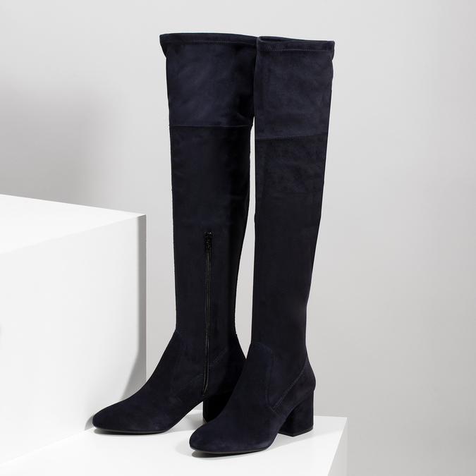 Granatowe kozaki damskie za kolana bata, niebieski, 793-9614 - 16