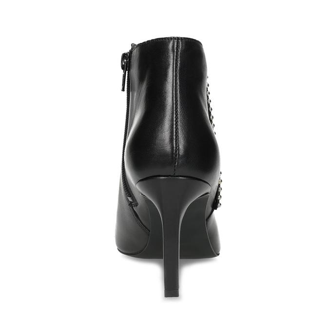 Skórzane botki zmetalową aplikacją bata, czarny, 796-6659 - 15