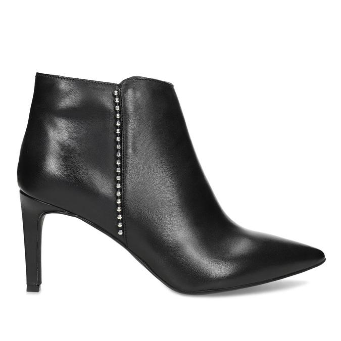 Skórzane botki zmetalową aplikacją bata, czarny, 796-6659 - 19