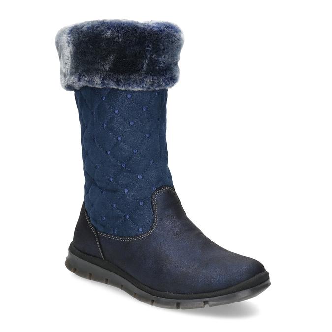 Kozaki dziewczęce zfuterkiem iwzorem wgroszki mini-b, niebieski, 391-9660 - 13