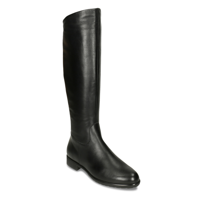 Czarne skórzane kozaki zklamrami bata, czarny, 594-6675 - 13