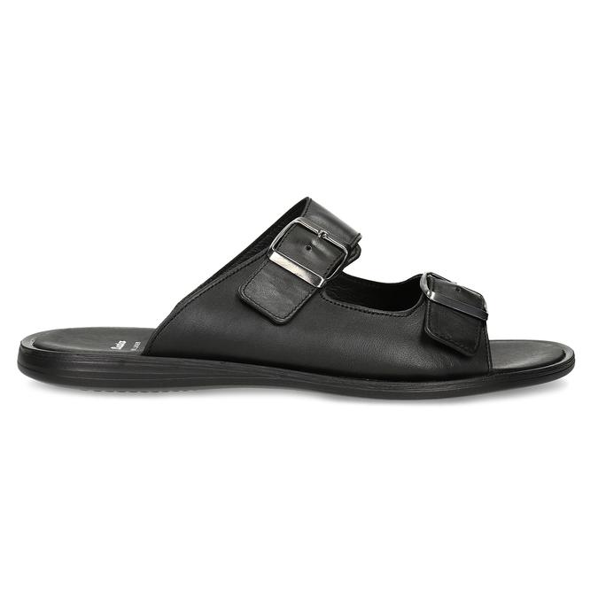 Skórzane klapki męskie zklamrami bata, czarny, 874-6602 - 19