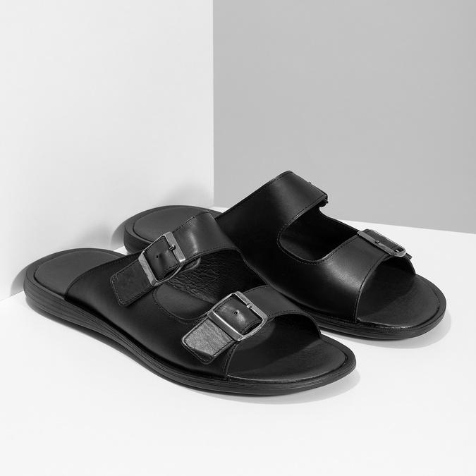 Skórzane klapki męskie zklamrami bata, czarny, 874-6602 - 26