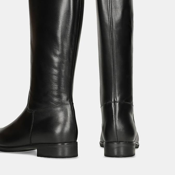 Czarne skórzane kozaki zklamrami bata, czarny, 594-6675 - 16