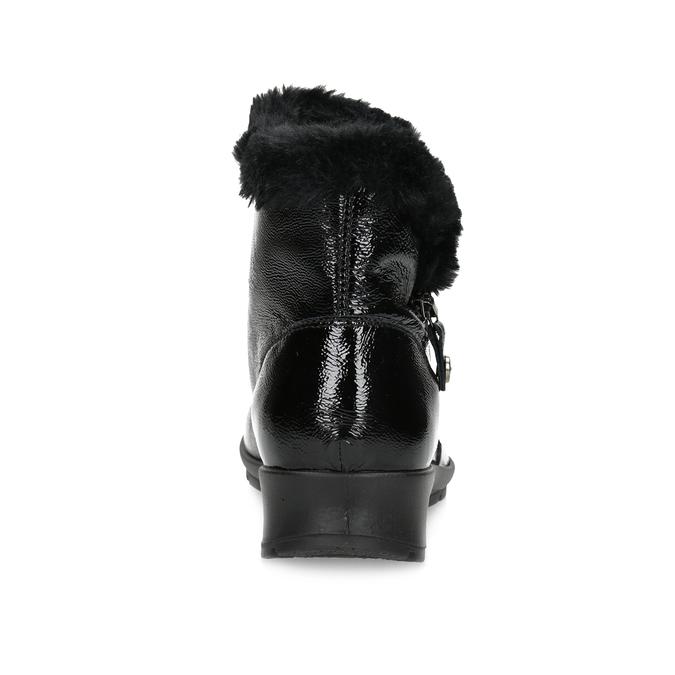 Skórzane kozaki damskie zfuterkiem comfit, czarny, 598-6605 - 15