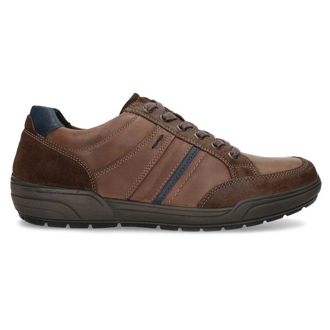 Brązowe skórzane trampki męskie bata, brązowy, 846-4714 - 19