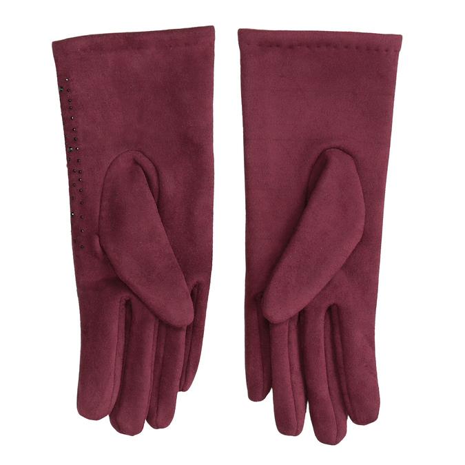 Bordowe rękawiczki zkryształkami bata, czerwony, 909-5692 - 16