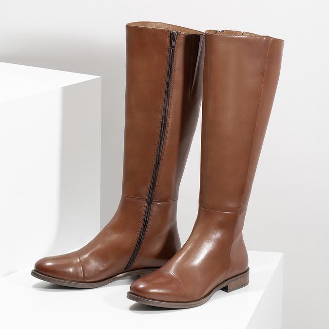 Brązowe skórzane kozaki bata, brązowy, 594-4637 - 16