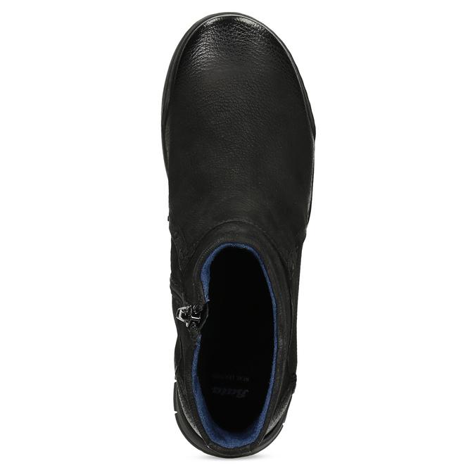 Skórzane botki damskie bata, czarny, 596-6706 - 17