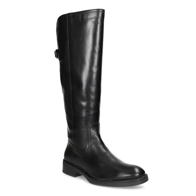 Czarne skórzane kozaki zklamrami bata, czarny, 594-6678 - 13