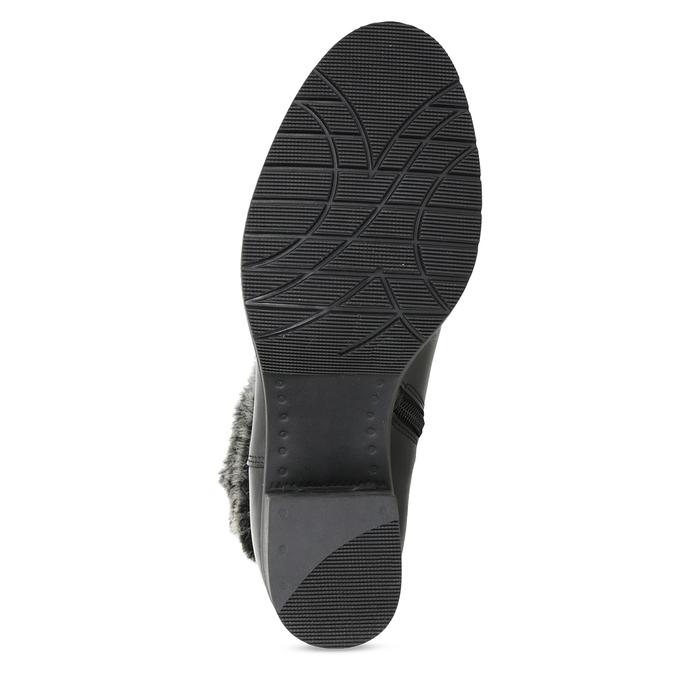 Skórzane botki zfuterkiem bata, czarny, 696-6658 - 18