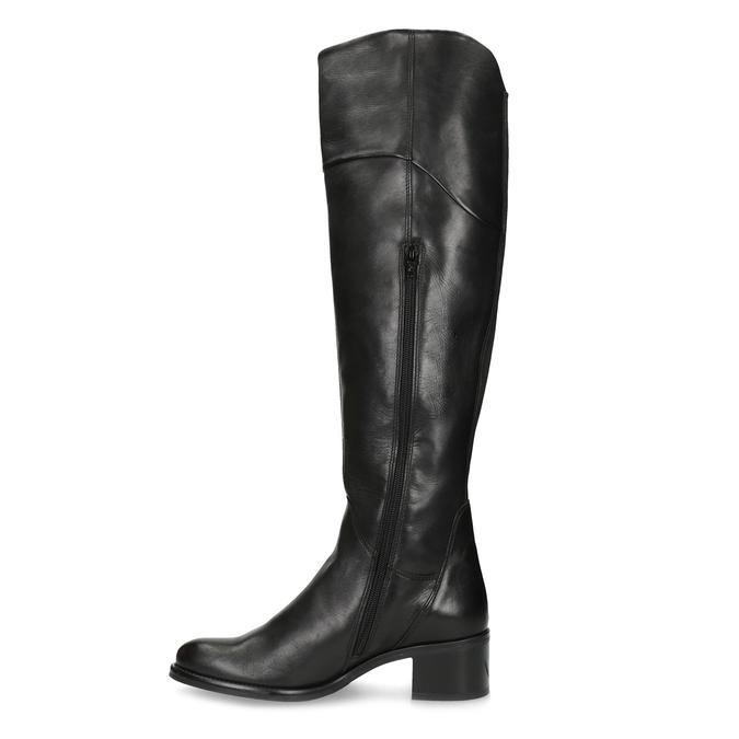 Czarne skórzane kozaki za kolana bata, czarny, 694-6666 - 17