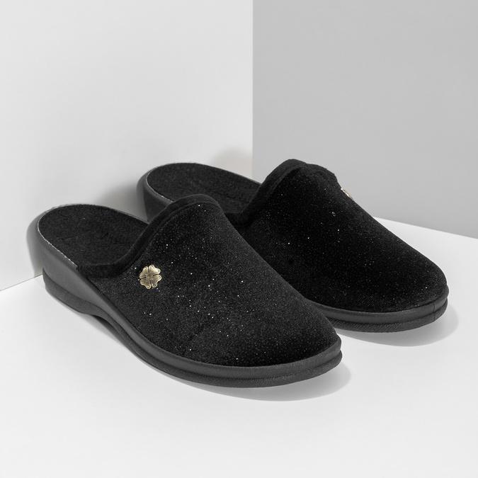 Czarne kapcie damskie bata, czarny, 579-6631 - 26