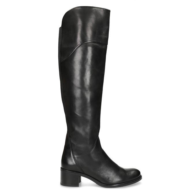 Czarne skórzane kozaki za kolana bata, czarny, 694-6666 - 19