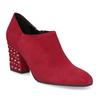 Czerwone skórzane botki zćwiekami bata, czerwony, 723-5661 - 13