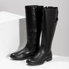 Czarne skórzane kozaki zklamrami bata, czarny, 594-6678 - 16