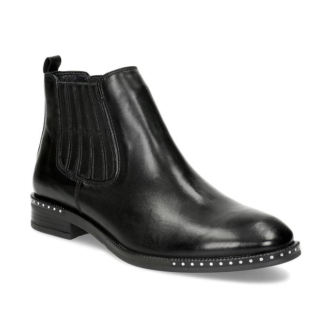 Skórzane obuwie damskie typu chelsea zkryształkami bata, czarny, 594-6682 - 13