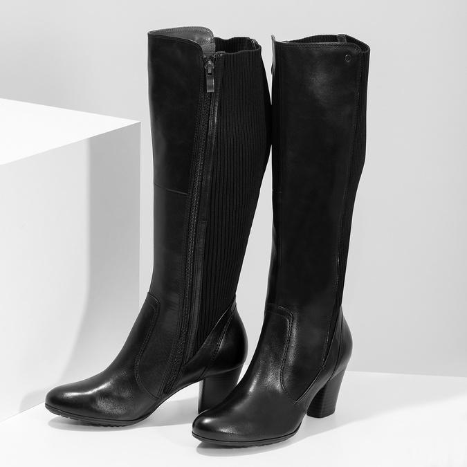Czarne skórzane kozaki damskie zdzianiną, czarny, 696-6657 - 16