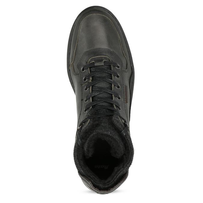 Czarne skórzane obuwie męskie za kostkę bata, czarny, 896-6712 - 17