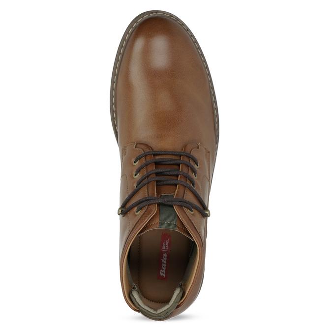 Brązowe obuwie męskie za kostkę, zelastycznymi wstawkami bata-red-label, brązowy, 821-3610 - 17