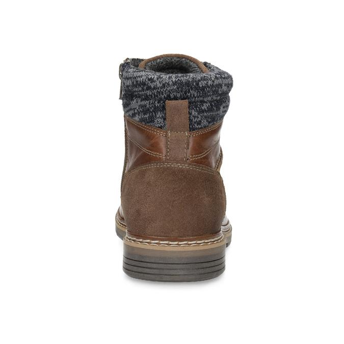 Brązowe skórzane obuwie męskie za kostkę bata, brązowy, 896-3713 - 15