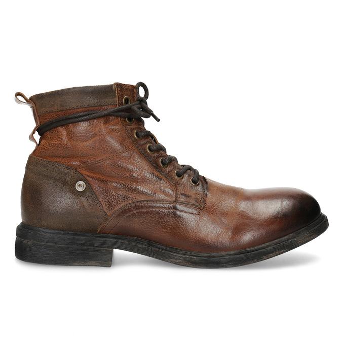 Brązowe skórzane obuwie męskie za kostkę bata, brązowy, 896-3717 - 19