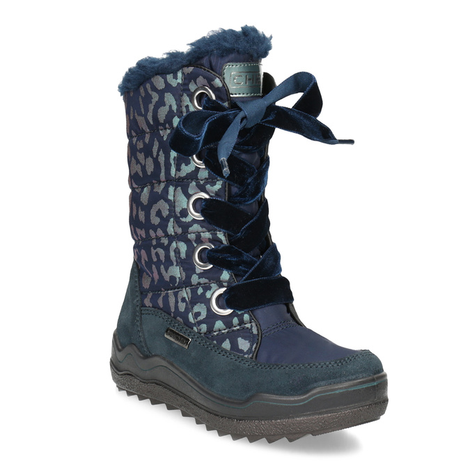 Śniegowce dziewczęce wpanterkę mini-b, niebieski, 299-9617 - 13