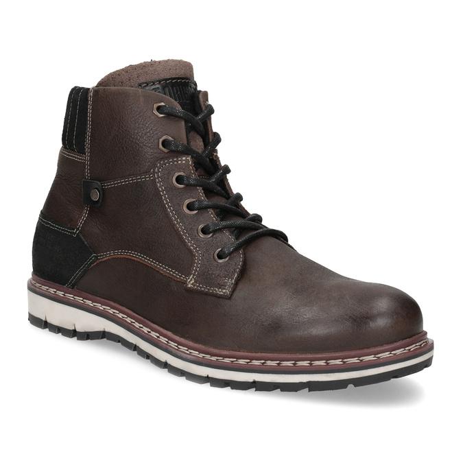 Skórzane obuwie męskie za kostkę bata, brązowy, 896-4666 - 13