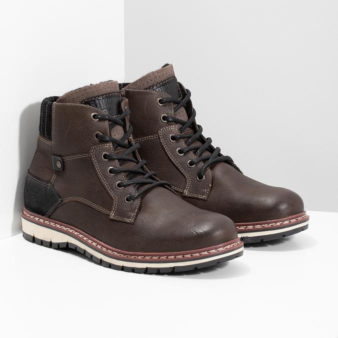 Skórzane obuwie męskie za kostkę bata, brązowy, 896-4666 - 26