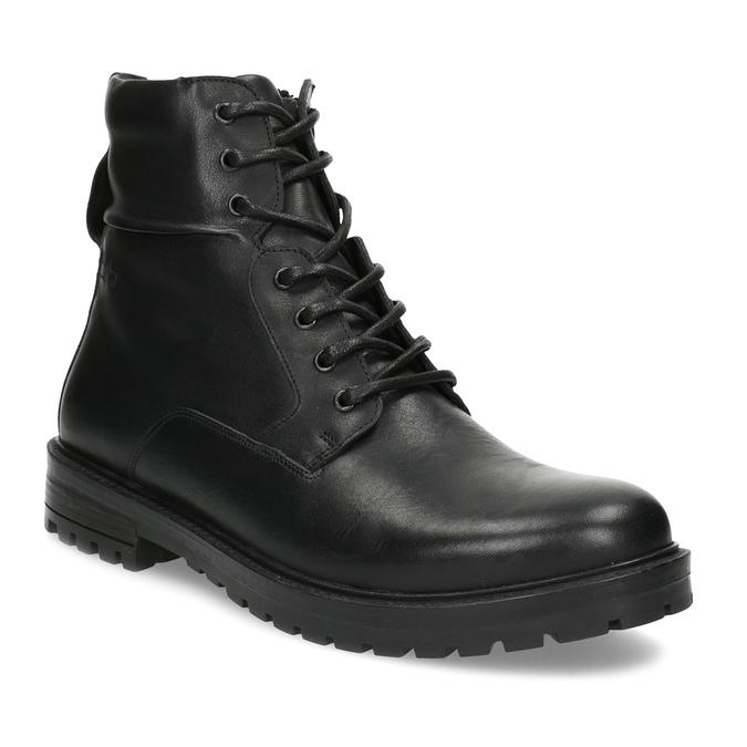 Zimowe botki męskie skórzane czarne bata, czarny, 896-6731 - 13