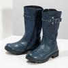 Zimowe granatowe kozaki dziewczęce ze skóry mini-b, niebieski, 394-9200 - 16