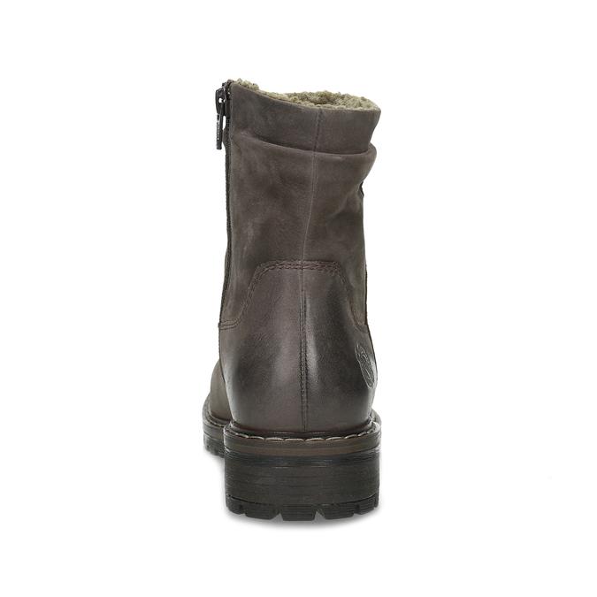 Skórzane kozaki damskie zociepliną bata, brązowy, 596-4703 - 15