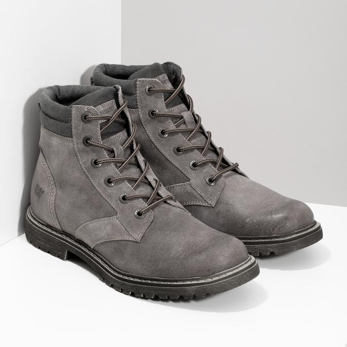 Szare skórzane obuwie męskie za kostkę weinbrenner, szary, 896-2693 - 26