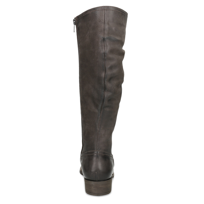 Brązowe skórzane kozaki zprzeszyciami bata, brązowy, 596-4700 - 15