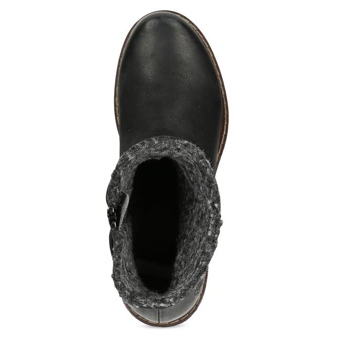 Skórzane kozaki damskie zociepliną bata, czarny, 596-6703 - 17