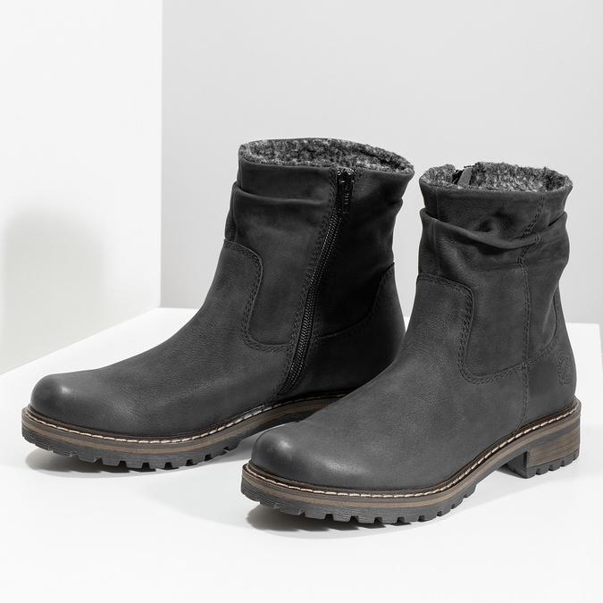 Skórzane kozaki damskie zociepliną bata, czarny, 596-6703 - 16