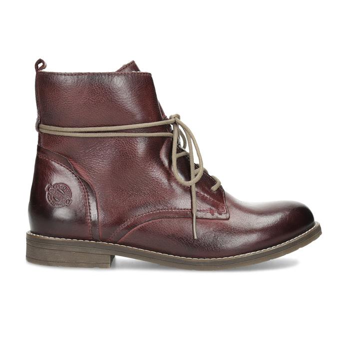 Skórzane botki damskie zociepliną bata, czerwony, 596-5702 - 19