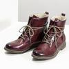 Skórzane botki damskie zociepliną bata, czerwony, 596-5702 - 16