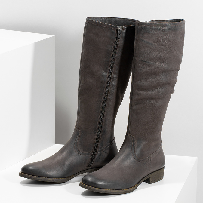 Brązowe skórzane kozaki zprzeszyciami bata, brązowy, 596-4700 - 16